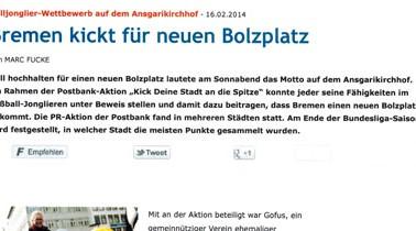 Februar 2014 / Bremen kickt für einen neuen Bolzplatz